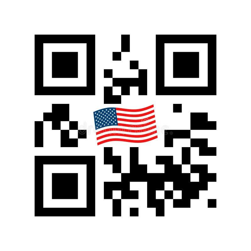 Код смартфона читаемый QR со значком флага США иллюстрация вектора