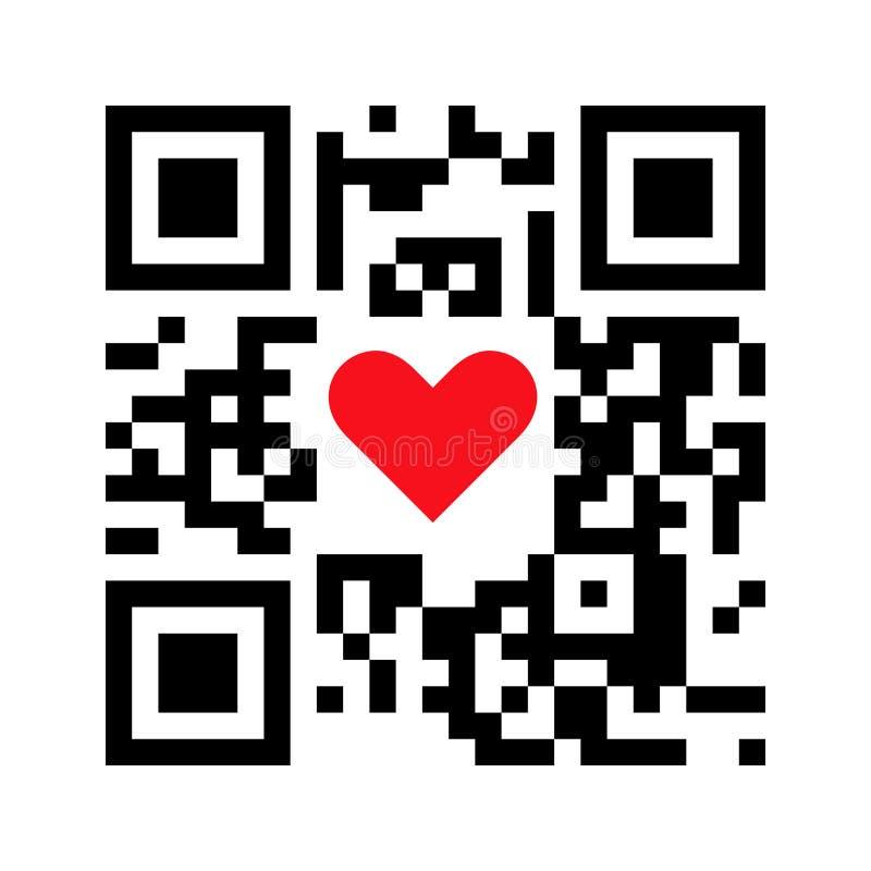 Код смартфона читаемый QR я тебя люблю со значком сердца бесплатная иллюстрация