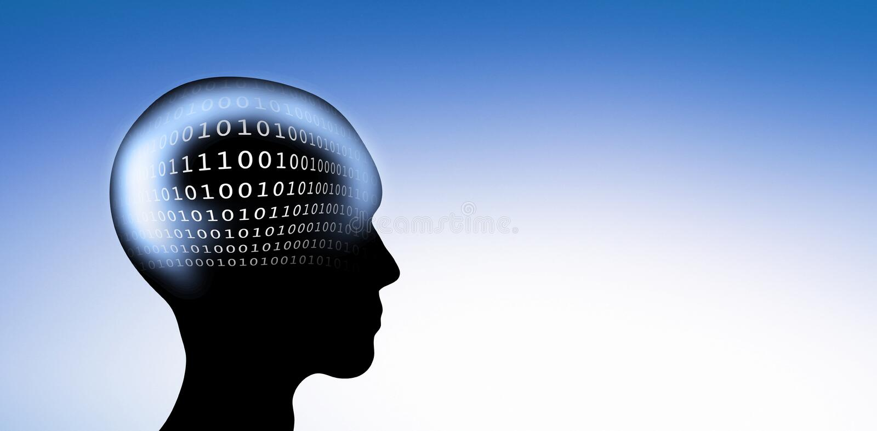 Код цифров в голове иллюстрация штока