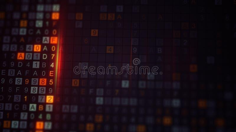 Код шифровать цифров на мониторе компьютера стоковая фотография rf