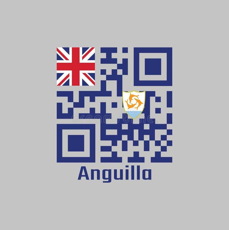 Код QR установил цвет флага Ангильи, голубого Ensign с великобританским флагом в кантоне, порученном с гербом Ангильи иллюстрация штока