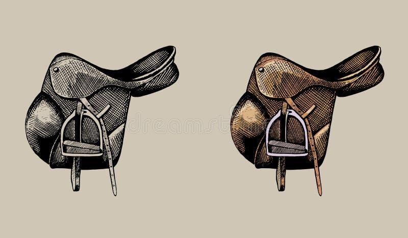 Кожаная конноспортивная седловина, рука нарисованная иллюстрация бесплатная иллюстрация