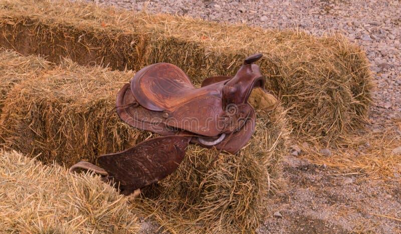 Кожаная седловина ковбоя стоковое изображение