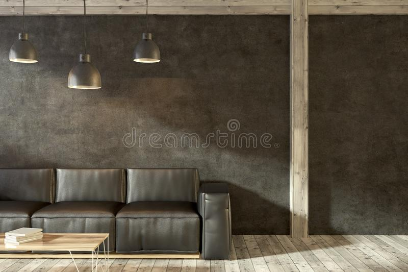Кожаная софа в черном конце живущей комнаты вверх иллюстрация вектора