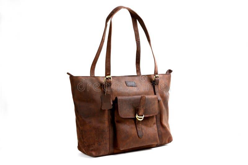 Кожаная сумка на белизне стоковое фото