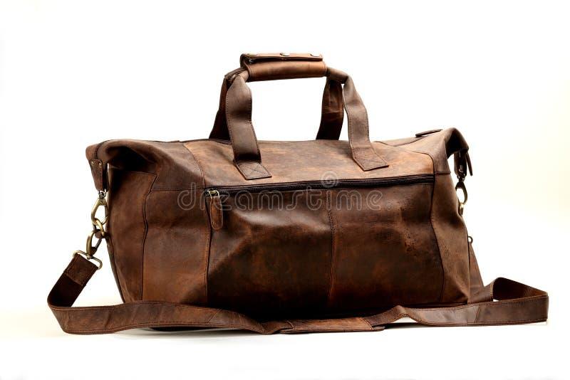 Кожаная сумка на белизне стоковое фото rf