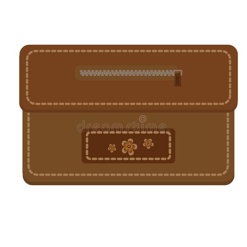 Кожаное коричневое портмоне с молнией и шить, украшенный при цветки, изолированные на белой предпосылке Для денег и кредитных кар иллюстрация штока