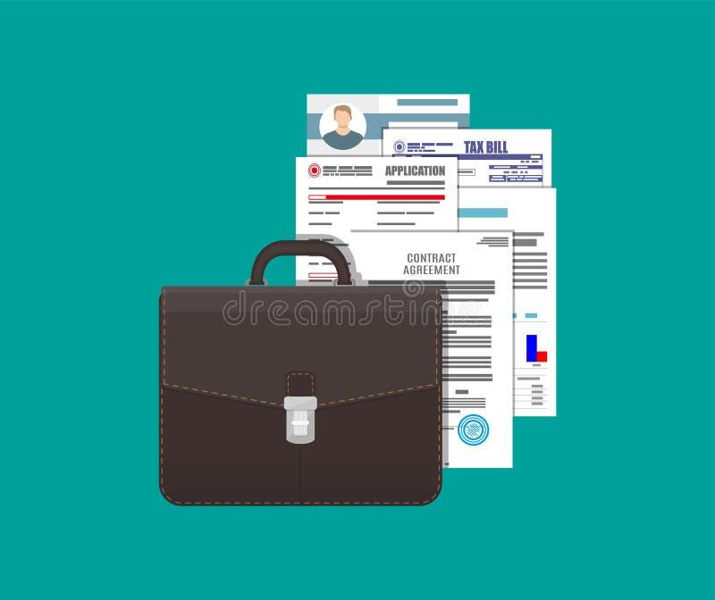 Кожаные документы портфеля и кучи дела иллюстрация штока