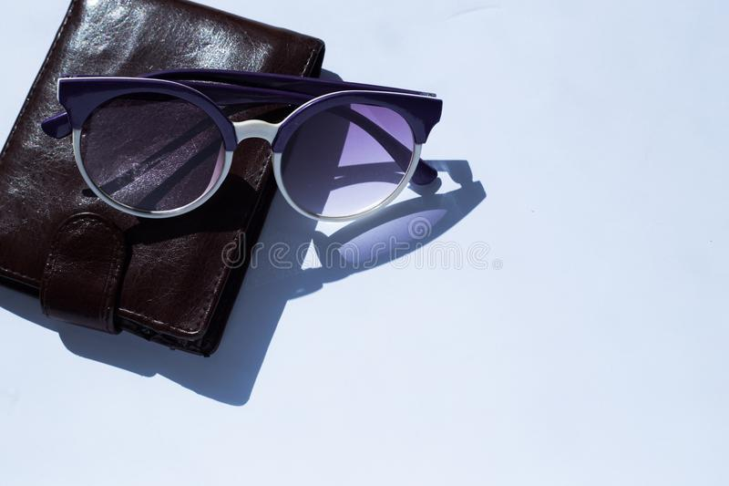 Кожаный бумажник и фиолетовые солнечные очки на белой предпосылке стоковые фотографии rf