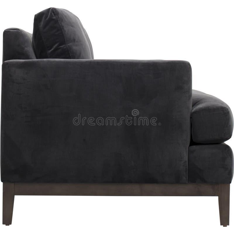 Кожаный диван мест уютный, софа 2 seater современная в светлом - серая ткань, 2-Seat софа, софа валика пера, стоковая фотография rf
