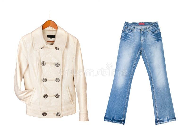 кожа джинсыов синего пиджака стоковые фото