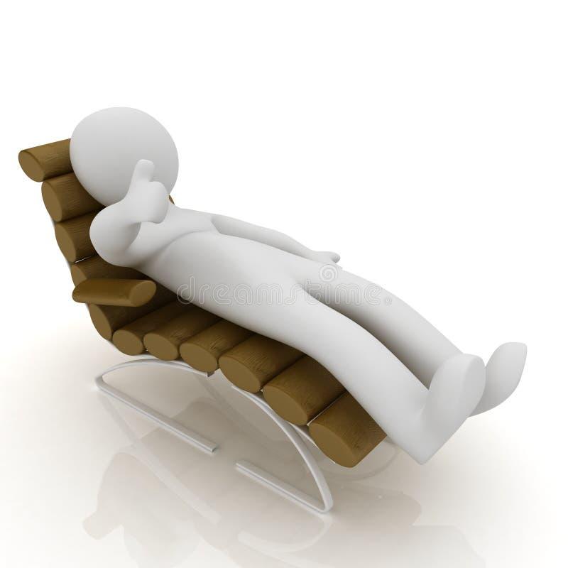 кожа диван-кровати белого человека 3d лежа коричневая неподдельная с большим пальцем руки вверх иллюстрация штока