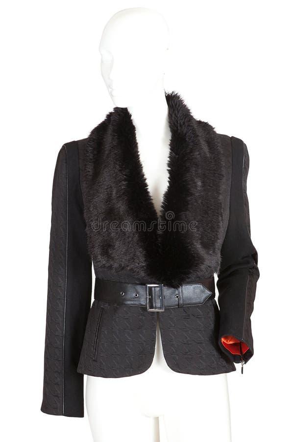 кожа пальто изолированная женщиной стоковое изображение