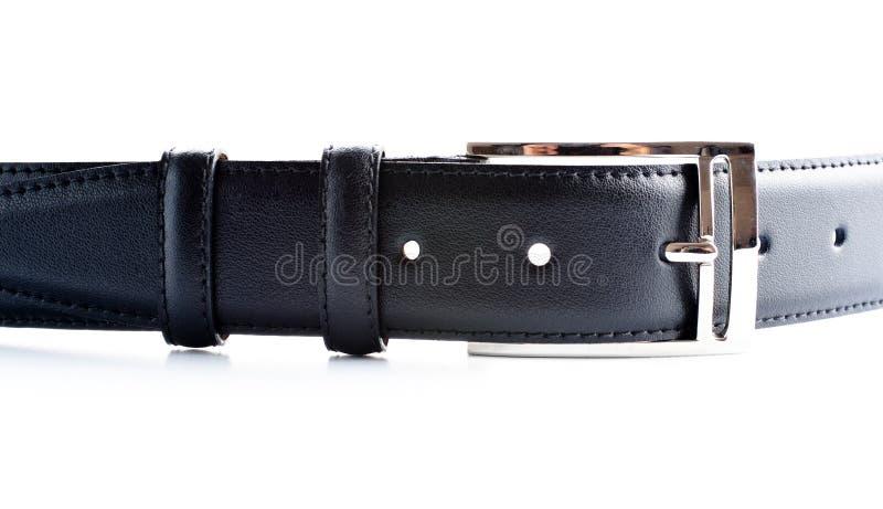 кожа пряжки пояса черная стоковые фото