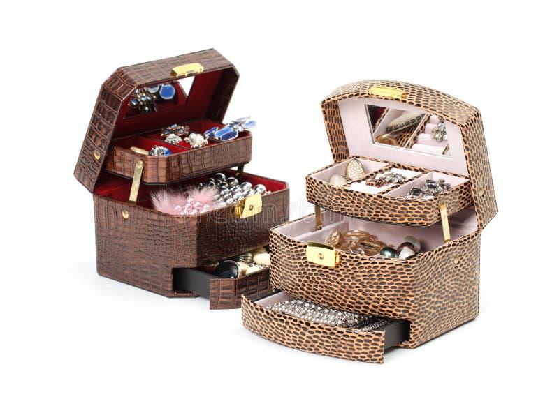 кожа ювелирных изделий коробки косметическая стоковые фото