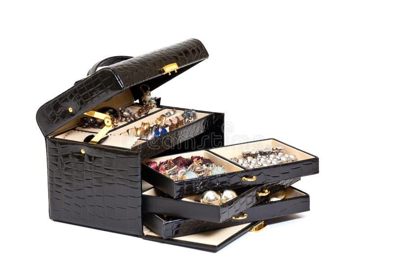 кожа jewelery черного ящика косметическая стоковое фото rf