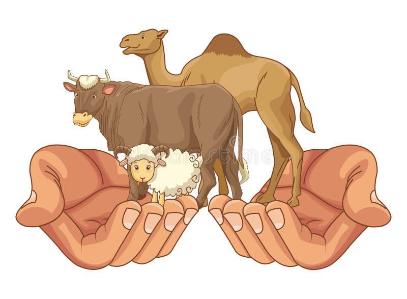 Коза удерживания руки, верблюд и мультфильм животных коровы иллюстрация вектора