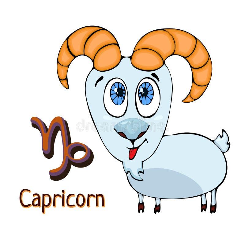 Козерог шаржа знака зодиака, астрологический характер Покрашенный смешной козерог с символом изолированный на белой предпосылке,  иллюстрация вектора