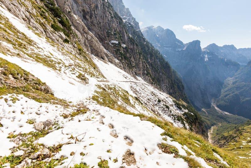 Козы горы на снеге покрыли след над глубоким каньоном стоковая фотография