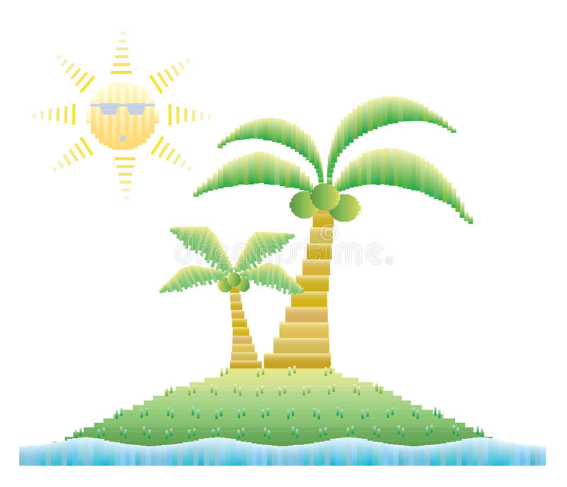 Кокосовые пальмы на острове с солнечностью иллюстрация вектора