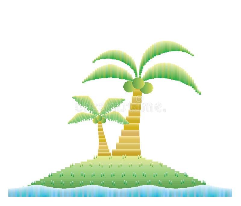 Кокосовые пальмы на острове иллюстрация штока