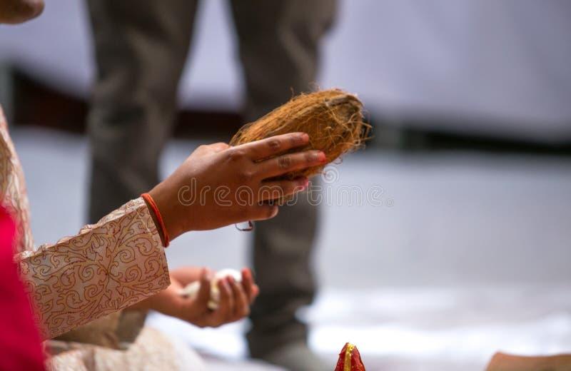Кокос в руке священника во время ритуала на индусской свадьбе в Индии стоковое фото