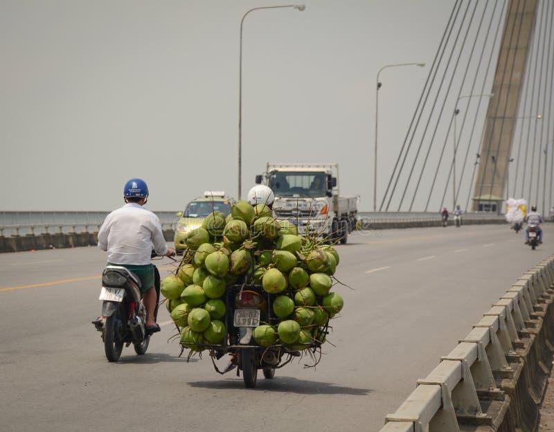 Кокос загрузки человека на мосте Binh стоковые изображения