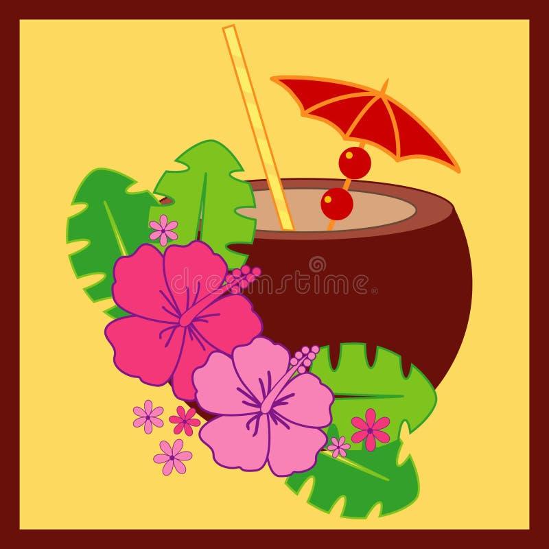 кокос коктеила вишни иллюстрация вектора