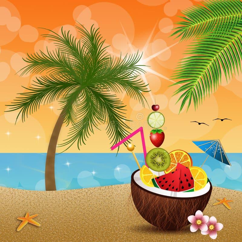 Кокос с плодоовощами на пляже иллюстрация штока