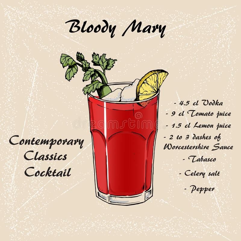 Коктеиль кровопролитная Mary в стиле эскиза для меню, карточек 3 коктеиля бесплатная иллюстрация