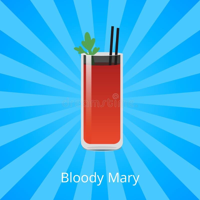 Коктеиль кровопролитной Mary содержа сок томата водочки иллюстрация вектора