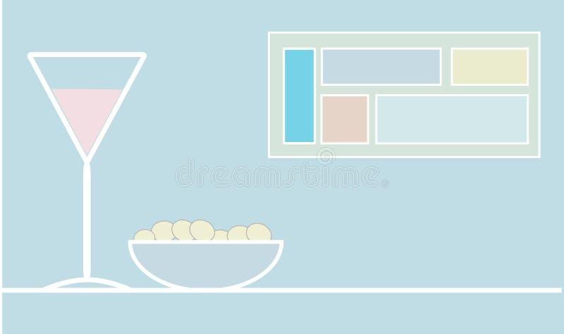 Коктеил и оливки бесплатная иллюстрация
