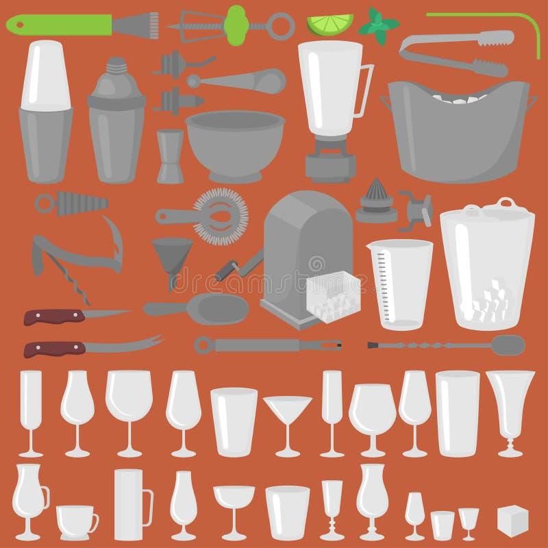 Коктеили, пиво и бокалы стеклоизделия бара Плоские инструменты бармена Оборудование бармена Изолированный значок аппаратуры бесплатная иллюстрация