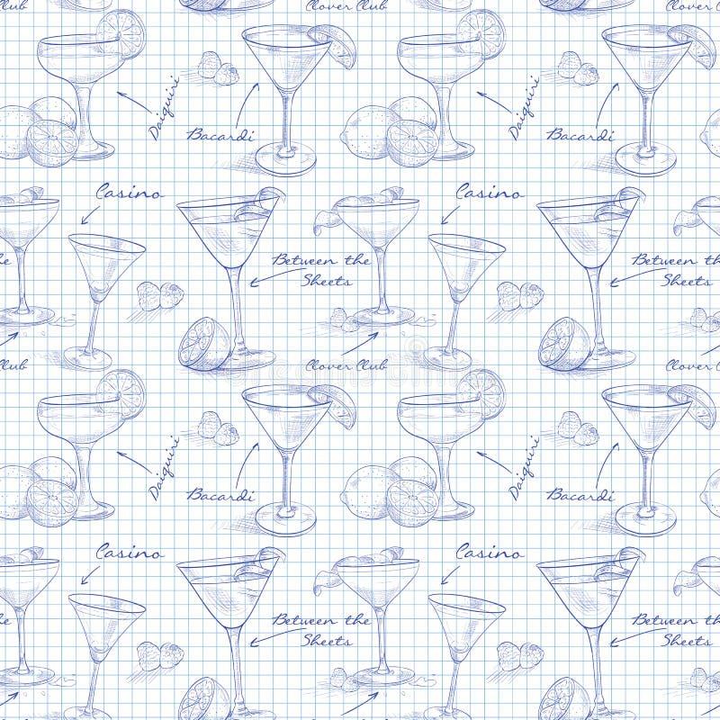 Коктеили unforgettables картины Scetch иллюстрация вектора