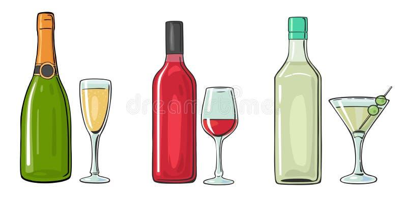 Коктеиль бутылки и стекла, ликер, вино, шампанское иллюстрация вектора