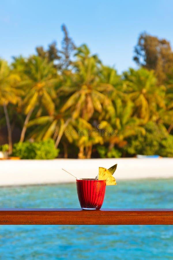 Коктеиль плодоовощ на пляже Мальдивов стоковые изображения rf