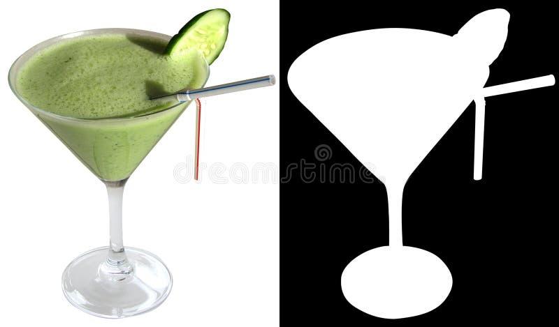 Коктеиль Fitnes с огурцом, укропом, югуртом, шпинатом, украшенным с куском огурца стоковое изображение