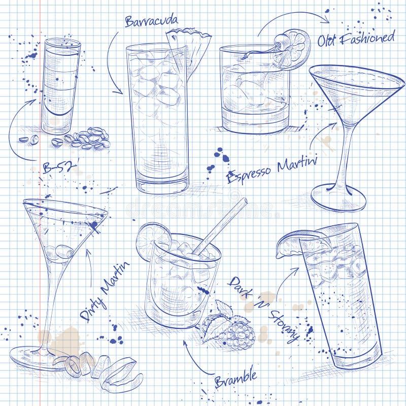 Коктеиль Unforgettables установил на страницу тетради иллюстрация штока