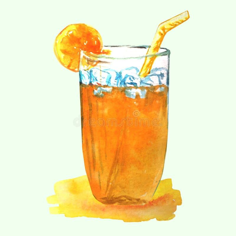 Коктейль лета оранжевый со стеклянным beaker, льдом, оранжевым куском и соломой иллюстрация штока