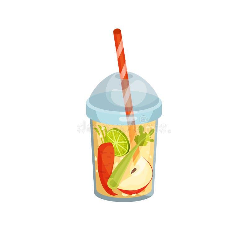 Коктейль с морковью, яблоком, сельдереем и известкой в стекле иллюстрация штока