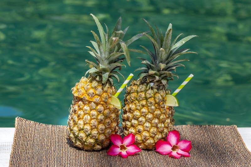 Коктейль colada Pina в свежих ананасах около бассейна, конца вверх Остров Бали, Индонезия стоковое изображение rf