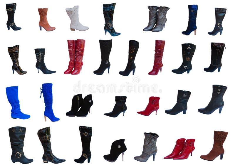 Колен-ботинки модной женщины, коллаж стоковое изображение rf