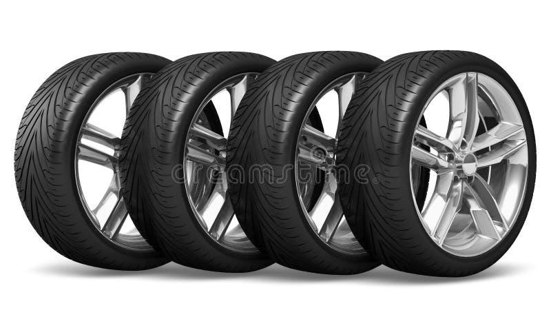 колеса автомобиля установленные иллюстрация штока