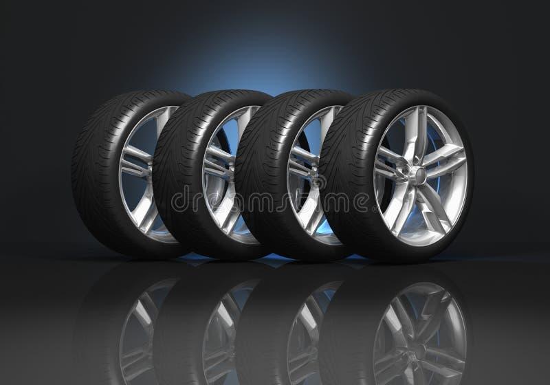колеса автомобиля установленные иллюстрация вектора