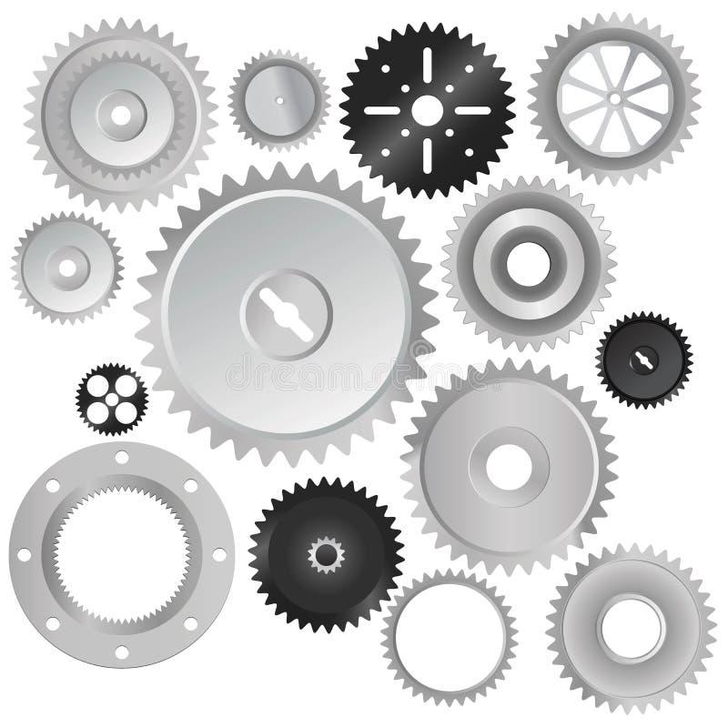 колеса вектора шестерни иллюстрация штока