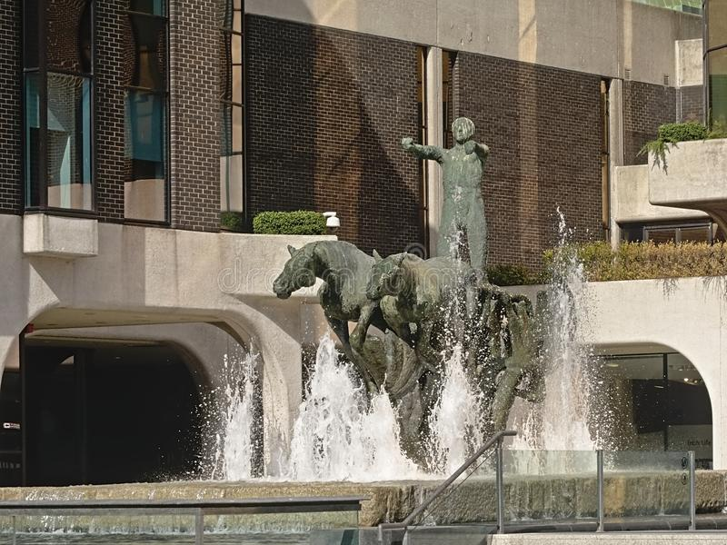 Колесница статуи жизни и фонтана, Дублина стоковые изображения