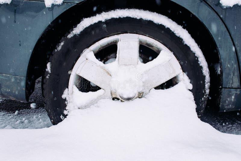 Колесо автомобиля с автошинами зимы в снеге Колесо вставленное в сугробе Смещения снега на дорогу, плохую погоду стоковое изображение