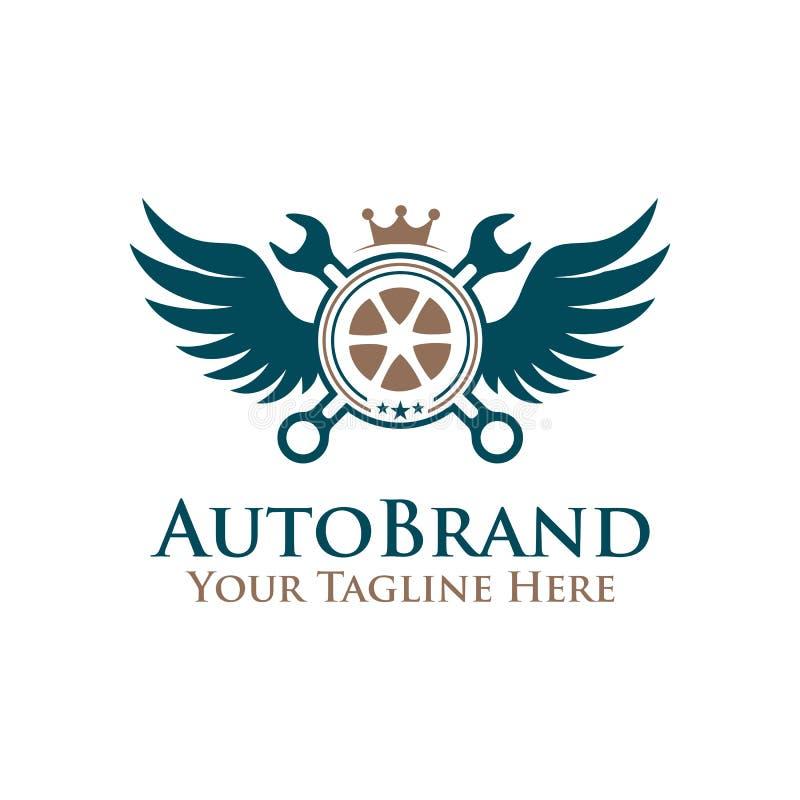 Колесо автошины эмблемы иллюстрации вектора, ключ с логотипом крыльев Автоматический логотип обслуживания бесплатная иллюстрация