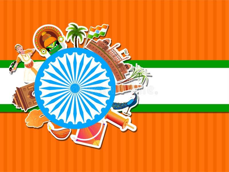 Колесо Ашока украшено индийскими памятниками, павлом, змеем, струнным соусом, сахарным тростником, кокосовым деревом, масляной ла бесплатная иллюстрация