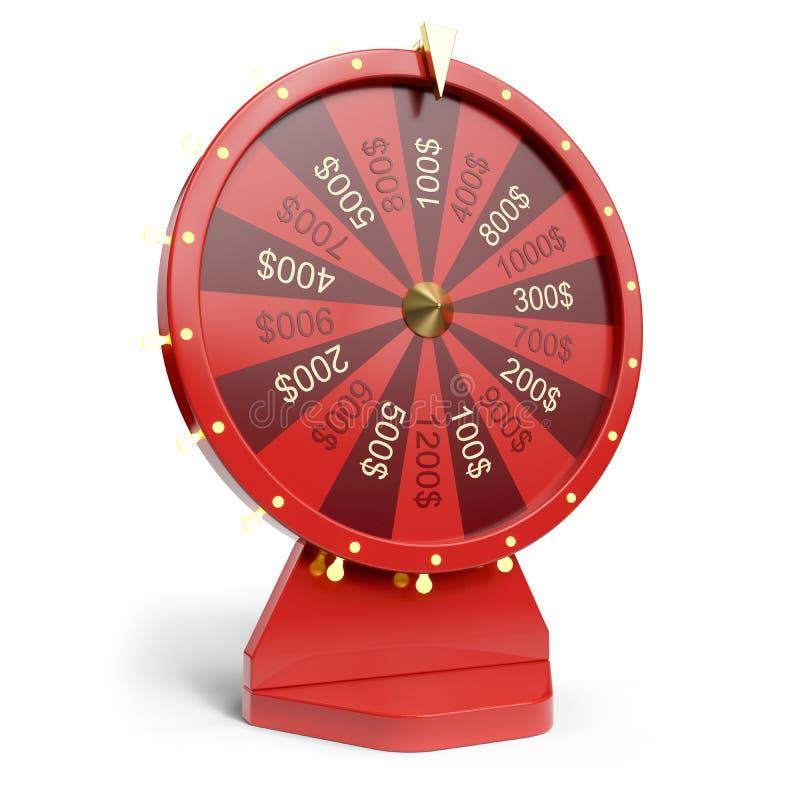 колесо иллюстрации 3d красное везения или удачи Реалистическое закручивая колесо удачи Удача колеса изолированная на белизне иллюстрация штока